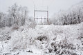 Power Line in winter Royalty Free Stock Photo