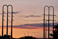 Power lines at dusk Royalty Free Stock Photo