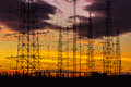 Power lines in the dusk high Royalty Free Stock Photo