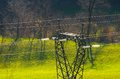 Power lines and electric pylon in a rural area Royalty Free Stock Images