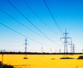 Power lines in the field high voltage overhead line tilt lens Stock Photography
