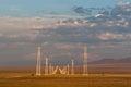 Power lines landscape in Kazakhstan steppe