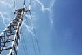Power lines lightning volts Stock Image