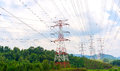 Power lines and pylons electrical transmission Royalty Free Stock Photography