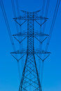 Power lines towers sky background Royalty Free Stock Photo
