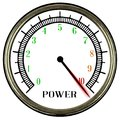 Power Meter With Needle In The Red Over White