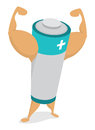 Power from muscle energy battery cartoon illustration of an showing off its Royalty Free Stock Photos