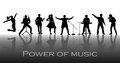 Power of music concept. Set of black silhouettes of musicians, singers and dancers