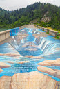 Power of nature elements d picture painted on the dam in niedzica june thirty four meters long picture is a new tourist attraction Stock Photography