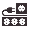 Power outlet plug and socket sign on white background Royalty Free Stock Images