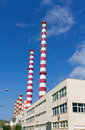Power plant chimneys Stock Images