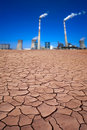 Power plant in desert Stock Photography