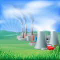 Power plant energy generation illustration of a generating and electricity could be fossil fuel or other with chimneys and cooling Royalty Free Stock Images