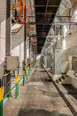 Power plant long corridor in hydro Royalty Free Stock Images