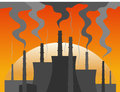 Power plant silhouette at dusk colorful vector illustration Stock Photo