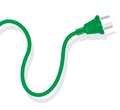Power plug - cord on a white background. Royalty Free Stock Photo