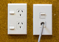 Power point double electrical wall outlet and a corded outlet Royalty Free Stock Photography