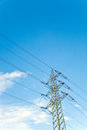 Power pole  with blue purple sky background Royalty Free Stock Photo
