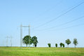 Power pole and blue sky Royalty Free Stock Images