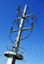 Power pylon over blue sky electrical transmission tower Royalty Free Stock Image