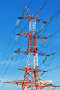 Power pylon over blue sky electrical transmission tower Royalty Free Stock Photos