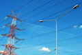 Power pylon over blue sky electrical transmission tower Stock Images