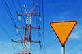 Power pylon over blue sky electrical transmission tower Stock Photo