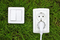 Power receptacle and light switch on a green grass Royalty Free Stock Photo