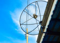 The power of satellite dish is in blue sky it receive signal from Royalty Free Stock Photos
