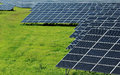Power solar plant on the green field huge Royalty Free Stock Images