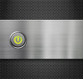 Power or start button on metal plate background Stock Image