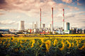 The power station pocerada with sunflower field Stock Photo
