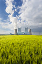 Power Station And Rye Field Royalty Free Stock Photo