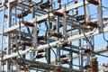 Power station structure detail. Energy plant. Electrical product Royalty Free Stock Photo