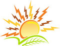 Power sun leaf logo Royalty Free Stock Photo