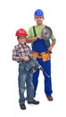 The power team vocational guidance concept with men and boy holding tools Royalty Free Stock Photography