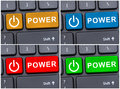 Power text on laptop button Royalty Free Stock Photo