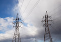 Power tower and transmission lines Royalty Free Stock Photo