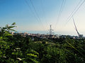 power transmission line landscape Royalty Free Stock Photo
