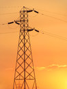 Power transmission system pylon sunset meant ads backgrounds posters power industry related companies applications there lot empty Stock Image