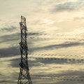 Power transmission tower line of electricity distribution Stock Photos