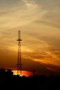 Power transmission tower on sunset Royalty Free Stock Photos