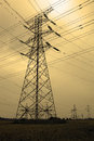 Power transmission towers and cables Stock Image