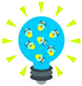 Powered by fireflies a light bulb lighted a group of Royalty Free Stock Images