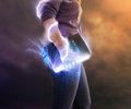 Powerful bible a woman holds her with glowing lights and lightning strikes Stock Images