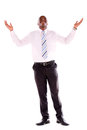 Powerful business man with arms open isolated over a white background Royalty Free Stock Photography