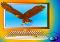 Powerful computer as strong eagle Royalty Free Stock Images