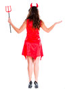 Powerful female devil with a pitchfork isolated over white Royalty Free Stock Image