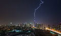 Powerful Lightning bolt strikes over Toronto City, Canada. Royalty Free Stock Photo