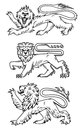 Powerful lions and predators for heraldry design Royalty Free Stock Photography